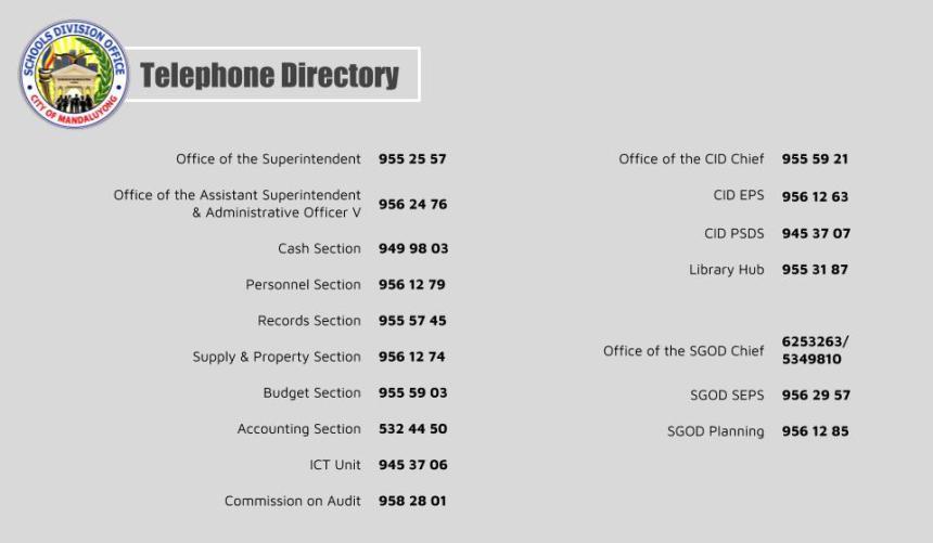 SDO Mandaluyong Directory